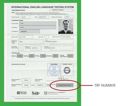 ielts test report form pdf