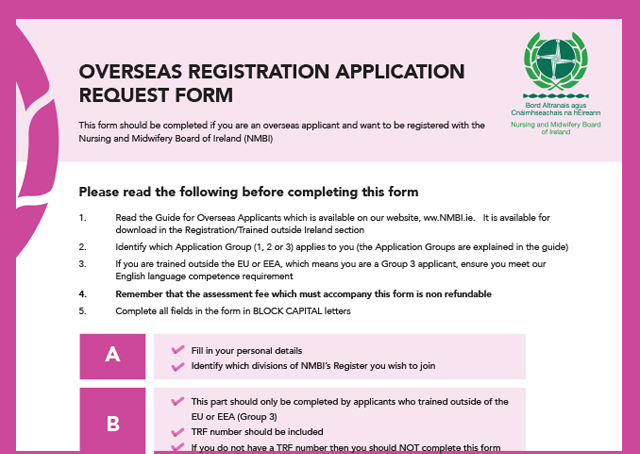 NMBI Overseas registration application request form NMBI – Request Form